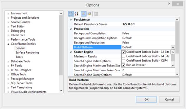 CodeFluent Entities Options - Build Platform