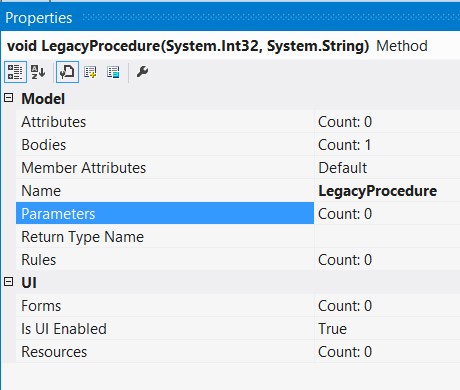 The method parameters
