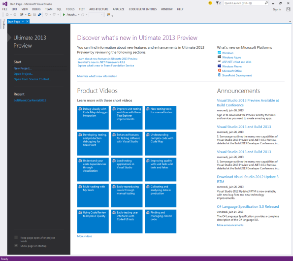 Visual Studio 2013 home page