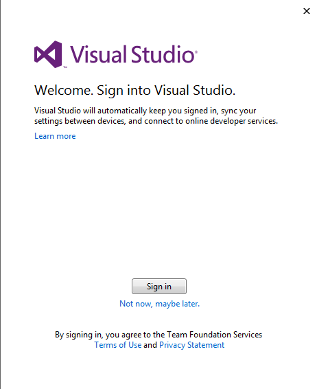 Visual Studio 2013 preview sign in