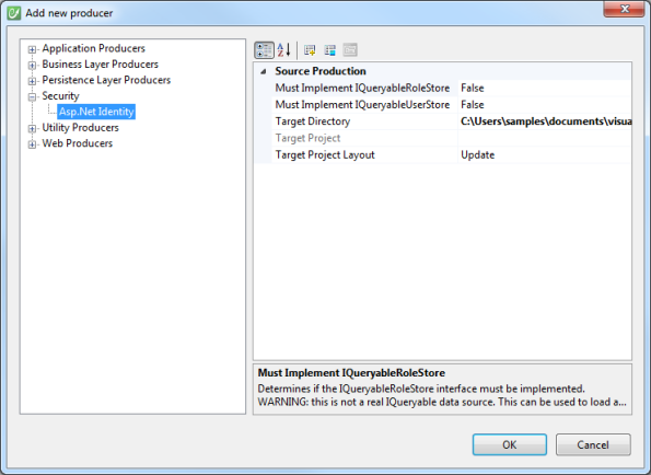 AspNet Identity Producer Configuration