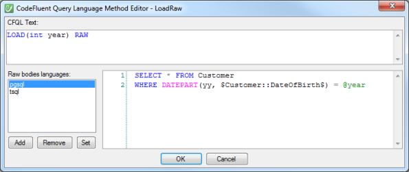 CodeFluent Query Language Editor