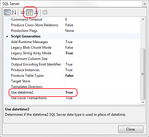 SQL Server Use datetime2